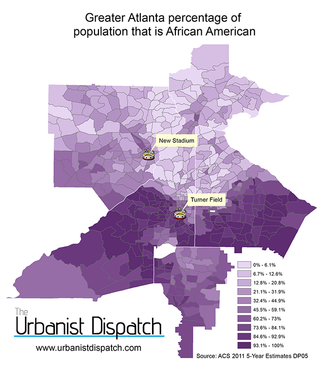 Percentage of population that is African American.