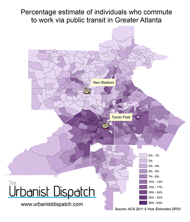 Percent who commute to work via public transit in Altanta