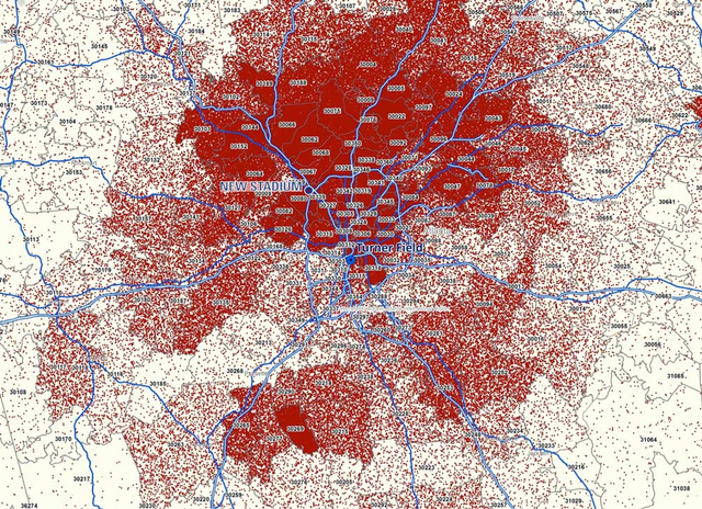Map showing the amount of ticket purchases for Atlanta Braves home games by location.